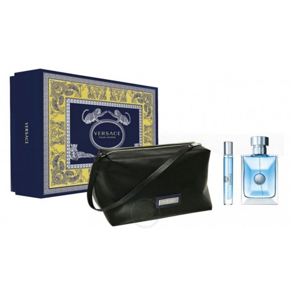 VERSACE POUR HOMME 100ML GIFT SET 3PC EDT SPRAY FOR MEN BY VERSACE