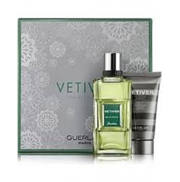 VETIVER 100ML EDT MENS GIFT SET 2 PC PERFUME BY GUERLAIN. DISCONTINUED